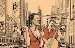 Cantante di jazz e spigola del doublle Immagini Stock