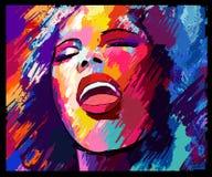 Cantante di jazz su un fondo di lerciume illustrazione di stock