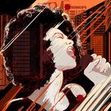 Cantante di jazz sulla priorità bassa del grunge Immagine Stock Libera da Diritti