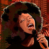 Cantante di jazz sulla priorità bassa del grunge Fotografia Stock Libera da Diritti
