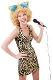 Cantante divertente   donna Fotografie Stock Libere da Diritti