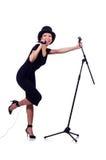 Cantante femminile afroamericano Fotografie Stock Libere da Diritti