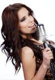 Cantante femminile di schiocco Immagini Stock