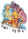 Cantante femminile, pianista e bassista di jazz royalty illustrazione gratis