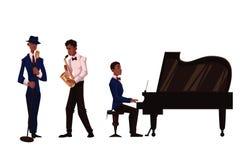Cantante, giocatore di sassofono e pianista maschii africani bei Fotografia Stock