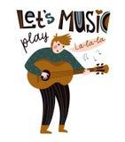 Cantante romántico con la guitarra Ejemplo del vector para el festival de música Diseño brillante del cartel Músico popular y étn libre illustration