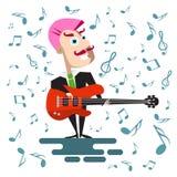 Cantante in vestito con Bass Guitar illustrazione vettoriale