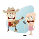 Cantantes de country divertidos de la historieta Fotografía de archivo libre de regalías