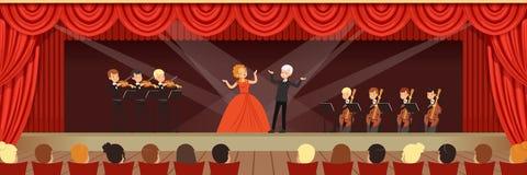 Cantantes de la ópera que cantan en etapa con la orquesta sinfónica antes del ejemplo horizontal del vector de la audiencia ilustración del vector