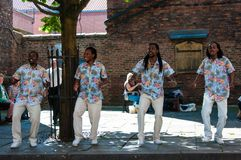 Cantantes de la calle que se realizan en la ciudad histórica de York, Inglaterra Foto de archivo libre de regalías