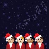 Cantanti del canto natalizio Immagini Stock Libere da Diritti