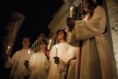 Cantanti svedesi per la festività di Santa Lucia Fotografia Stock