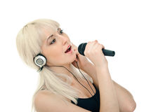 Cante con Karaoke Imagen de archivo libre de regalías