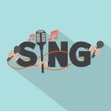 Cante la tipografía con diseño de los micrófonos Imagen de archivo libre de regalías
