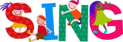 Cante a niños el texto del título ilustración del vector