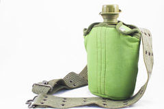 Canteen. An olive drab green army style canteen royalty free stock photos