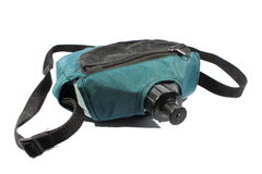 Canteen. Isolated green and black canteen used for hiking and camping Stock Photos