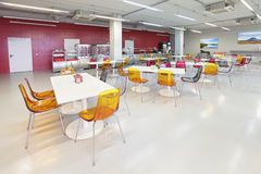 Canteen. The interior of the factory canteen, nobody royalty free stock photo