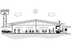 Canteen building, structure section for canteen,vector illustration Stock Image