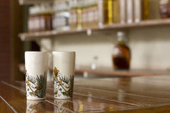 Canteen. In a canteen ceramic vessels to drink tequila or mezcal royalty free stock photos