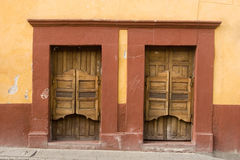 Canteen closed. With identical doors in San Miguel de Allende state of Guanajuato, Mexico royalty free stock photos