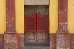 Canteen door. A red canteen door in San Cristobal las Casas, state of Chiapas in Mexico royalty free stock photography