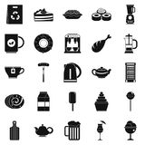 Canteen icons set, simple style Royalty Free Stock Images