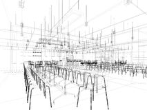 Canteen interior perspective wireframe line Royalty Free Stock Photos