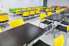 Canteen. Interior of the canteen with Yellow chair, Green chair stock photography