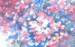 Canteiro de flores de branco, do rosa e de miosótis alpinos azuis Ilustração da aguarela ilustração royalty free