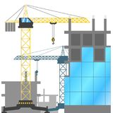 Canteiro de obras com guindastes e construções de torre sob a construção Ilustração do vetor da construção das casas ilustração stock