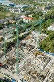 Canteiro de obras da fundação do arranha-céus Fotos de Stock Royalty Free