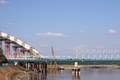 Canteiro de obras da ponte em Danube River Fotos de Stock Royalty Free