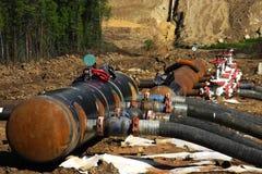 Canteiro de obras do oleoduto foto de stock