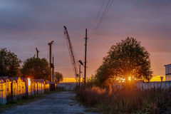 Canteiro de obras no por do sol Foto de Stock