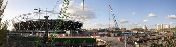 Canteiro de obras olímpico do estádio panorâmico foto de stock