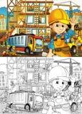 Canteiro de obras - página da coloração com estreia ilustração stock