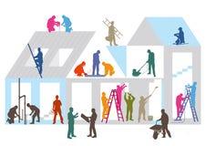 Canteiro e trabalhadores de obras ilustração stock