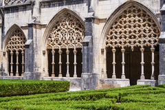 Cantería compleja en el claustro real de la abadía de Batalha Fotografía de archivo libre de regalías