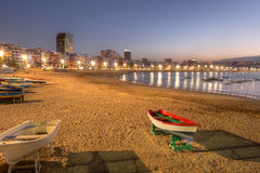 Canteras beach, Las Palmas de Gran Canaria, Spain. Twilight by the Las Canteras beach along the city of Las Palmas de Gran Canaria, Spain royalty free stock photos