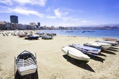 Canteras beach, Las Palmas de Gran Canaria, Spain. Las Canteras beach along the city of Las Palmas de Gran Canaria, Spain. Playa de Las Canteras is the main Royalty Free Stock Photography