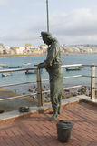 Canteras Beach. LAS PALMAS DE GRAN CANARIA, SPAIN - AUGUST 1, 2016: Sculpture tribute to the deceased fishermen in the city of Las Palmas. The sculptor Navarro Stock Photo