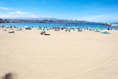 Canteras strand, Las Palmas de Gran Canaria, Spanien Arkivbild