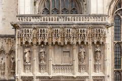 Canterbury Cathedral  facade detail with archbishop statues Cant. Archbishop statues at Southwest Porch of Canterbury Cathedral, one of the oldest and most Royalty Free Stock Photo