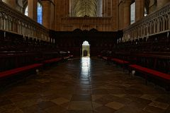 Canterbury Cathedral. Interior of Canterbury Cathedral with arces Royalty Free Stock Images
