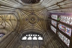 Canterbury Cathedral. Painted windows and ceiling Royalty Free Stock Photography