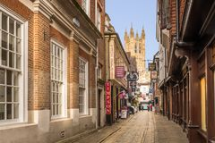 Canterbury Cathedral seen from Butchery Lane Stock Photo