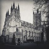 The Canterbury Cathedral shot in black and white stock photo