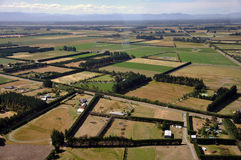Canterbury farm. Aerial of tidy Canterbury farms, South Island, New Zealand Stock Photo