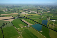 Canterbury farmland. Aerial of dairy and cropping farms in Canterbury, South Island, New Zealand. The large ponds collect effluent from the dairy farms for Stock Images